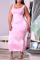 Pink Sexy Patchwork Tie-dye Square Collar Pencil Skirt Plus Size Dresses