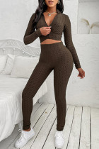 Coffee Casual Sportswear Solid Basic Zipper Collar Long Sleeve Two Pieces