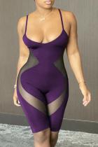 Purple Sportswear Solid Mesh Spaghetti Strap Skinny Jumpsuits