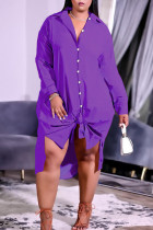 Purple Casual Solid Split Joint Buckle Turndown Collar Shirt Dress Plus Size Dresses