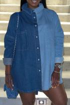 Blue Casual Solid Split Joint Turndown Collar Long Sleeve Straight Denim Jacket