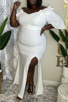 White Sexy Solid Split Joint Off the Shoulder Irregular Dress Plus Size Dresses