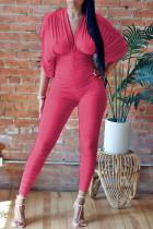 Red British Style Solid Split Joint Fold V Neck Skinny Jumpsuits