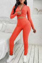 Orange Casual Sportswear Solid Basic Zipper Collar Long Sleeve Two Pieces