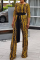 Yellow Casual Print Split Joint O Neck Straight Jumpsuits