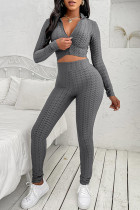 Grey Casual Sportswear Solid Basic Zipper Collar Long Sleeve Two Pieces