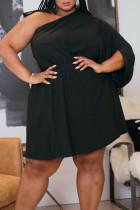 Black Sexy Solid Split Joint Asymmetrical Oblique Collar Straight Plus Size Dresses