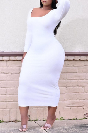 White Sexy Casual Plus Size Solid Basic O Neck Long Sleeve Dresses