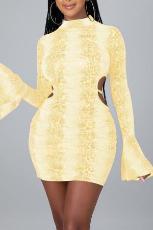 Yellow Sexy Print Split Joint Frenulum Backless O Neck Pencil Skirt Dresses