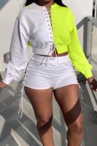 Fluorescent Green Sportswear Print Hollowed Out Split Joint Frenulum O Neck Long Sleeve Two Pieces