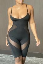 Black Sportswear Solid Mesh Spaghetti Strap Skinny Jumpsuits