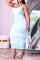 Light Blue Sexy Patchwork Tie-dye Square Collar Pencil Skirt Plus Size Dresses