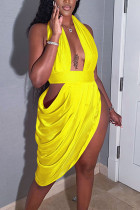 Yellow Sexy Solid Hollowed Out Split Joint Fold Asymmetrical Halter Evening Dress Dresses