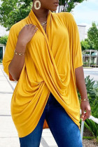 Yellow Casual Solid Split Joint Fold Asymmetrical V Neck T-Shirts