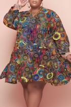 Multi-color Casual Print Split Joint Flounce V Neck Long Sleeve Plus Size Dresses