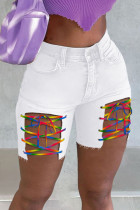 White Street Solid Hollowed Out Split Joint Frenulum Straight High Waist Straight Patchwork Plus Size Denim Shorts