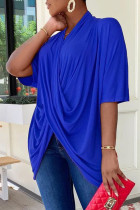 Blue Casual Solid Split Joint Fold Asymmetrical V Neck T-Shirts