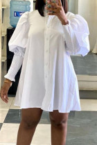 White Street Solid Split Joint Buckle Turndown Collar Shirt Dress Dresses