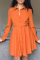 Red Casual Solid Split Joint Turndown Collar Shirt Dress Dresses