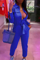 Royal Blue Casual Solid Split Joint With Belt Zipper Turndown Collar Straight Jumpsuits