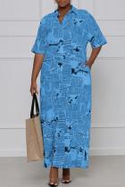 Blue Casual Print Split Joint Turndown Collar Shirt Dress Dresses