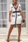 White OL Cap Sleeve Short Sleeves V Neck Step Skirt Knee-Length chain Solid Patchwork Club Dres