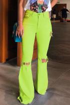 Green Denim Zipper Fly Button Fly Mid Hole Patchwork Boot Cut Pants