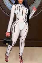 White Sexy Solid Split Joint See-through O Neck Skinny Jumpsuits(Two Underwear Included)
