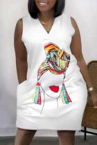 White Fashion Casual Plus Size Print Basic V Neck A Line Dresses