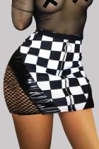 Black Fashion Sexy Plaid Hollowed Out Split Joint Regular High Waist Skirt