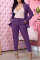 Purple Casual Solid Split Joint Turndown Collar Long Sleeve Two Pieces