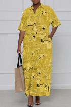 Yellow Casual Print Split Joint Turndown Collar Shirt Dress Dresses