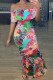 Multicolor Fashion Sexy Printed Off-shoulder Dress