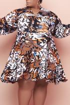 Brown Casual Print Split Joint Flounce V Neck Long Sleeve Plus Size Dresses