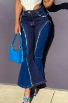 Dark Blue Casual Solid Split Joint Mid Waist Boot Cut Denim Jeans
