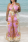 Pink Sexy Print Split Joint Halter Sleeveless Two Pieces