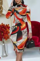 Multicolor Elegant Geometric Print Hollowed Out Split Joint O Neck Pencil Skirt Dresses