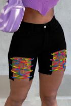 Black Street Solid Hollowed Out Split Joint Frenulum Straight High Waist Straight Patchwork Plus Size Denim Shorts