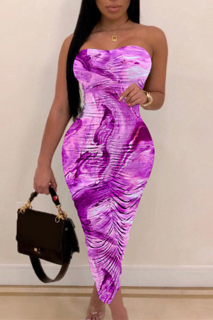 Purple Fashion Sexy Print Backless Strapless Sleeveless Dress