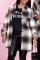 Grey Casual Plaid Split Joint Turndown Collar Outerwear
