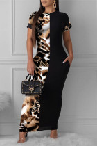 Black Fashion Casual Print Split Joint O Neck Short Sleeve Dress