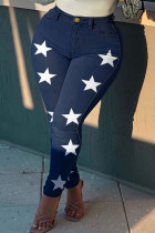 Deep Blue Fashion Casual The stars Printing Plus Size Jeans