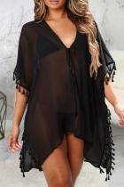 Black Sexy Solid Tassel Dresses