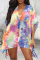 Multicolor Casual Patchwork Tie-dye V Neck Shirt Dress Dresses