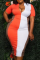 Tangerine Red Sexy Solid Split Joint Pencil Skirt Plus Size Dresses