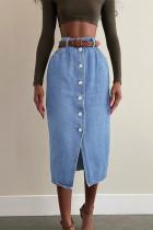 Blue Fashion Casual Solid Buckle Without Belt High Waist Regular Denim Skirts
