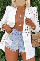 White Casual Solid Ripped Turndown Collar Outerwear