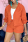 Tangerine Red Casual Solid Buckle Long Sleeve Two Pieces