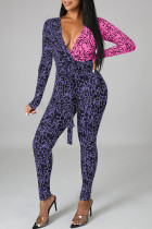 Pink Purple Sexy Letter Print Split Joint V Neck Skinny Jumpsuits