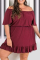 Burgundy Sexy Solid Flounce Off the Shoulder Cake Skirt Plus Size Dresses